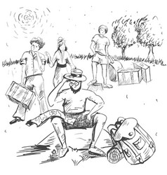 Comic strip man sitting on a stone and thinking vector