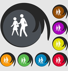 crosswalk icon sign Symbol on eight colored vector image