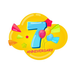 cute cartoon template 7 years anniversary vector image