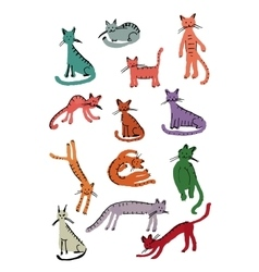 Cute cats childish style Sketch for your design vector