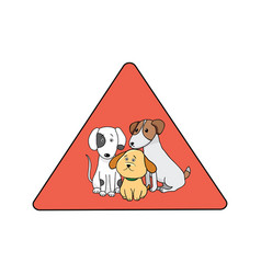 cute pets on red sign vintage vector image