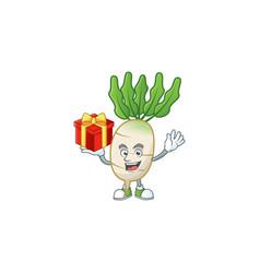 Daikon cartoon character with a box gift vector