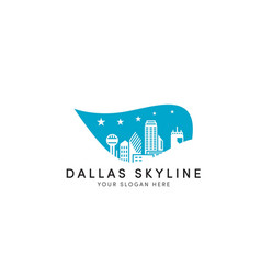 Dallas skyline logo designs with stars and leaf vector