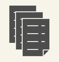 documents solid icon files vector image