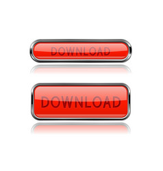 download red glass buttons vector image