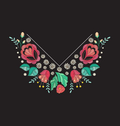 Embroidery neckline design vector