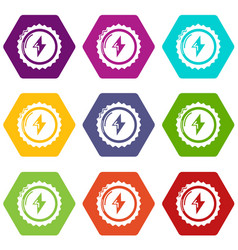 energy drink bottle cap icons set 9 vector image