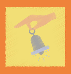 Flat shading style icon hand bell vector