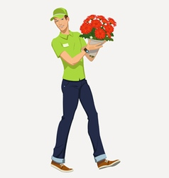 flower delivery vector image