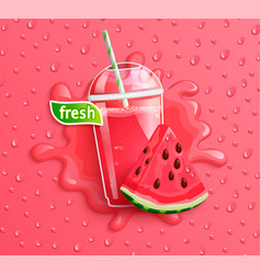 Fresh watermelon juice with slice berry vector
