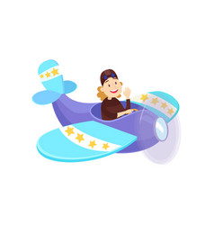 funny young man diving in a beautiful little plane vector image