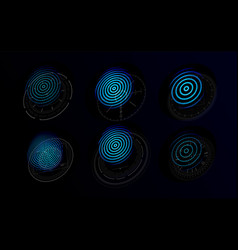 Futuristic holograms with graphic fingerprints vector