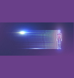 glowing man figure on purple background vector image