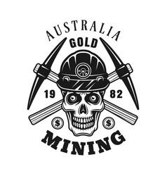 Gold minier skull crossed pickaxes emblem vector