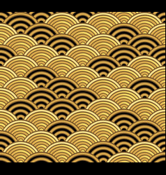 gold seigaiha luxurious japanese wave pattern vector image