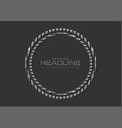 grey silver metallic circle logo background vector image