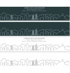 guilin single line skyline banner vector image