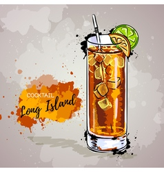 Hand drawn cocktail long island vector