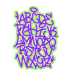 handwritten graffiti font alphabet vector image