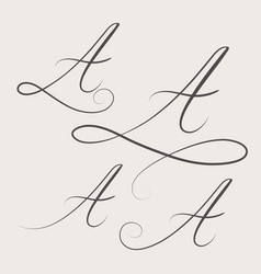 Handwritten swirl monogram a logo design vector
