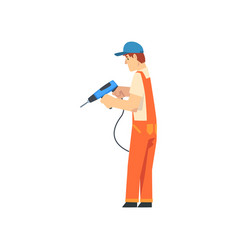 handyman with drill male construction worker vector image