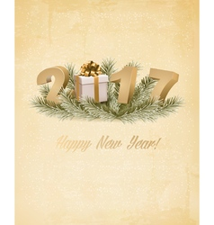 Happy New Year 2017 background with a gift box vector image