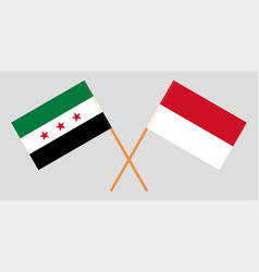 Indonesian and interim government syria flags vector