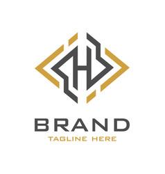 initial logo design h vector image
