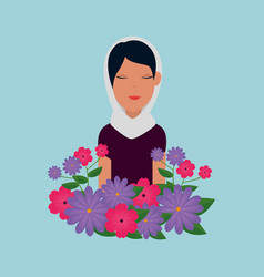 Islamic woman with traditional burka and garden vector