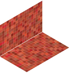 Isometric tile pattern mixed red floor and wall vector