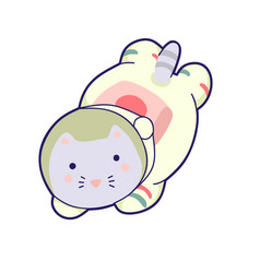 Kawaii cat astronaut helmet cute vector