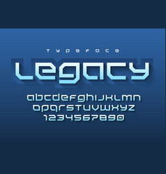 Legacy futuristic sports font design alphabet vector