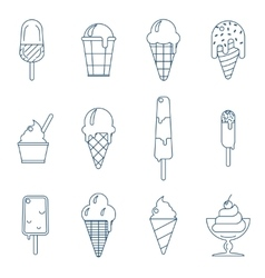 Line art icecream icons vector