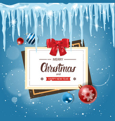 merry christmas and happy new year poster holiday vector image