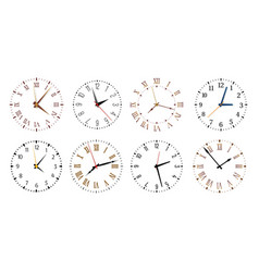 Modern clock faces minimalist watch round clocks vector