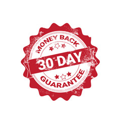 money back guarantee badge red grunge sticker or vector image