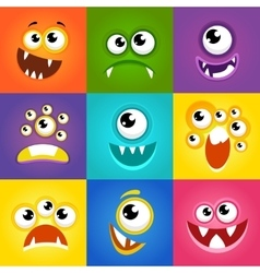 Monster expressions Funny cartoon faces vector