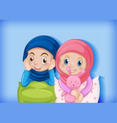 Muslim children cartoon character vector