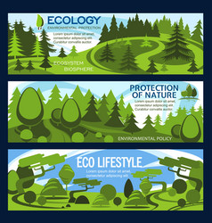Nature protection banner for ecology conservation vector
