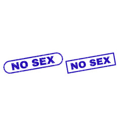 No sex blue rectangle seal with corroded texture vector