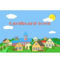 Old town cardboard village landscape Paper color vector image