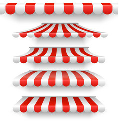 Outdoor awnings red and white stripes vector