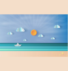 paper art and craft of sea view with a floating vector image