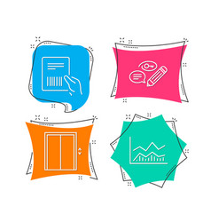 parcel invoice keywords and lift icons trade vector image
