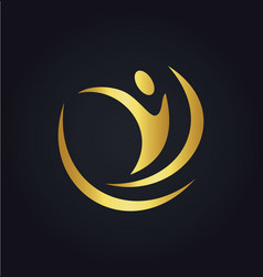 people abstract sport happy gold logo vector image