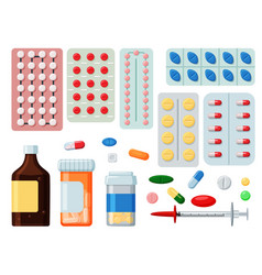 Pharmaceutical tablet pill and liquid icon set vector