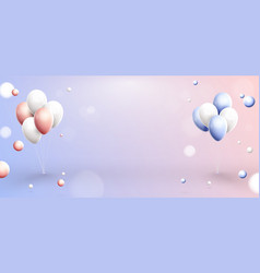 pink blue and white balloons in pastel background vector image