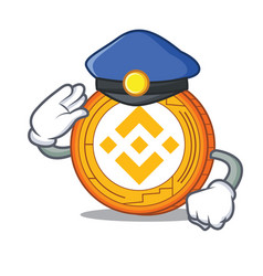 Police binance coin character catoon vector