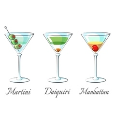 Popular alcoholic cocktails vector image