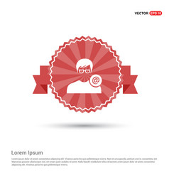 protected user icon - red ribbon banner vector image